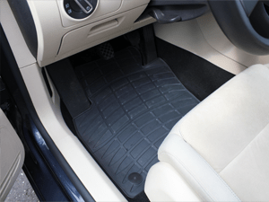 Custom fit rubber floor mat in a VW Golf VI