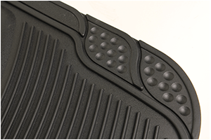 Detailed view of rubber floor mat including embossed edges / cutting lines