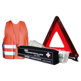 Mini combination bag first aid kit, safety vest and warning triangle