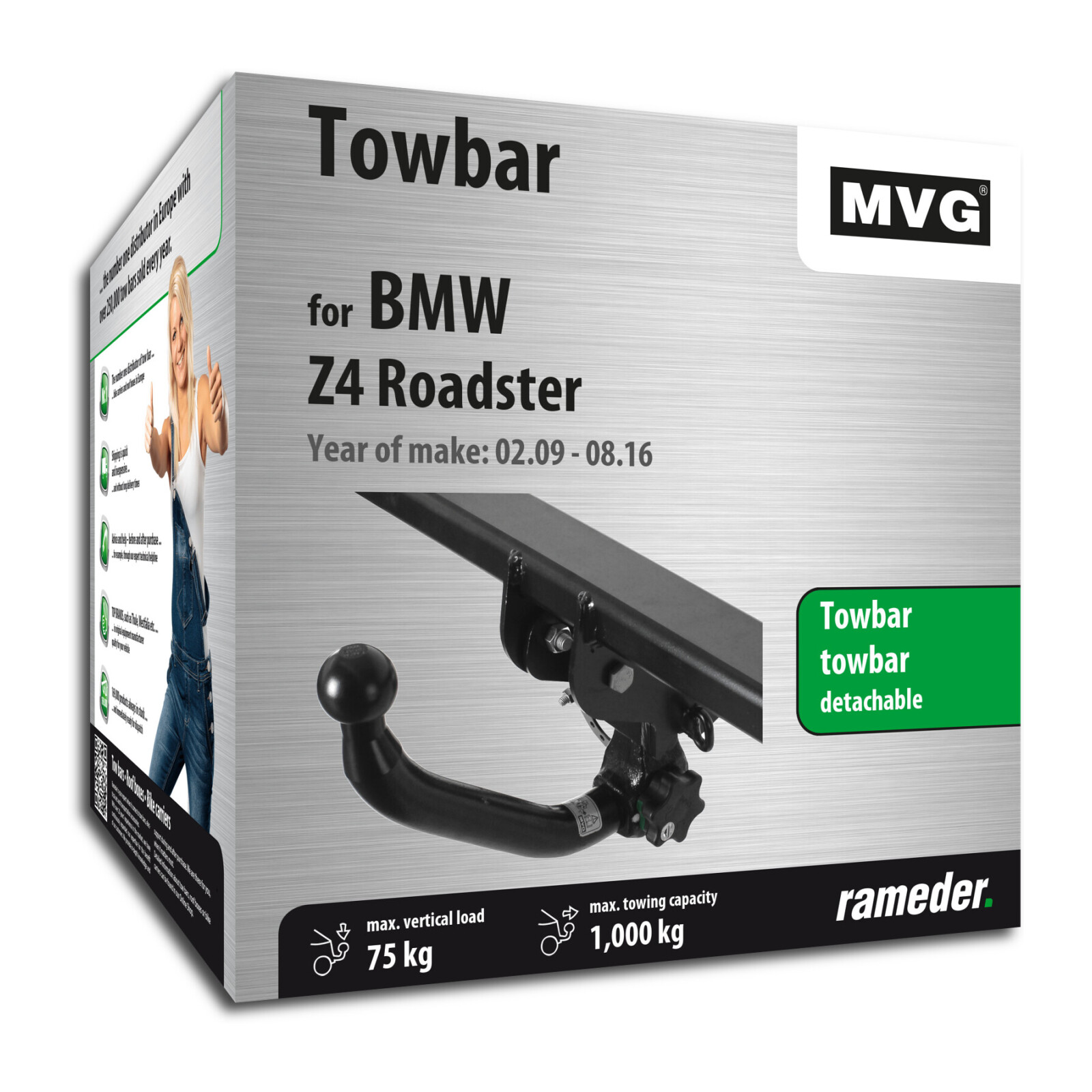 Mvg Towbar Detachable Bmw Z4 Roadster Year Of Make 05 09 Rameder Towbar