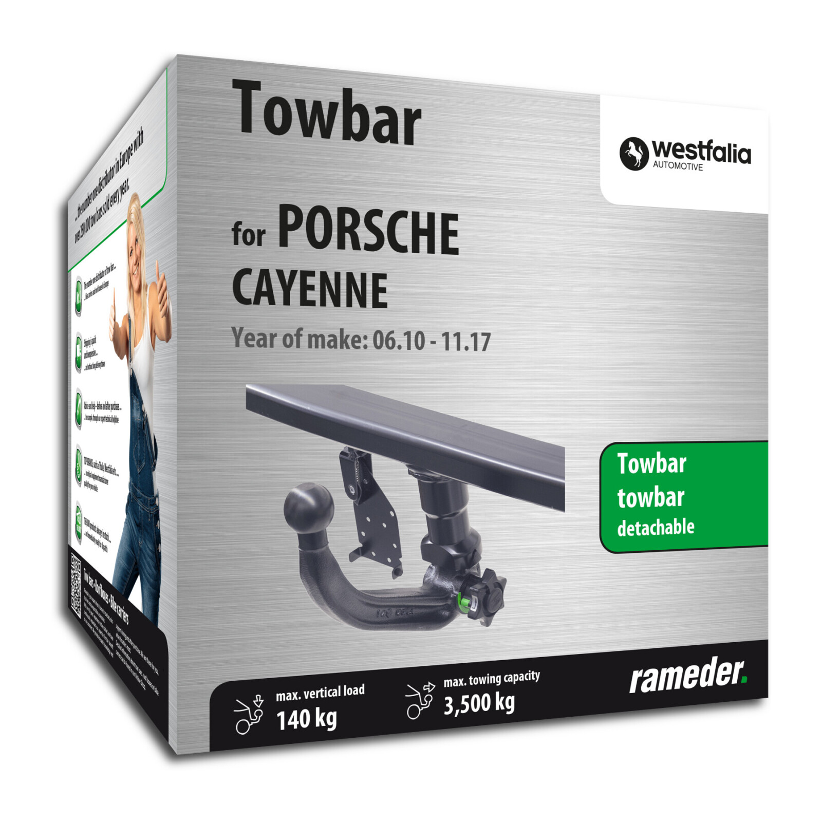 Porsche Cayenne Trailer Hitch Wiring Harness Westfalia Towbar Detachable Year Of Make 0610 Towball Inserted From Below